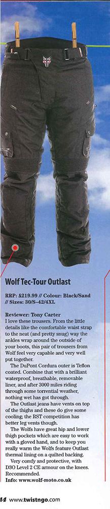 Wolf Tec-Tour Outlast Textile Jean Review